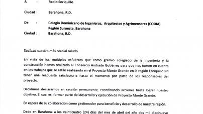 EL CODIA SE DECLARA EN SESIÓN PERMANENTE PARA LOGRAR SER TOMADO EN CUENTA EN LOS TRABAJOS DE LA PRESA MONTE GRANDE.