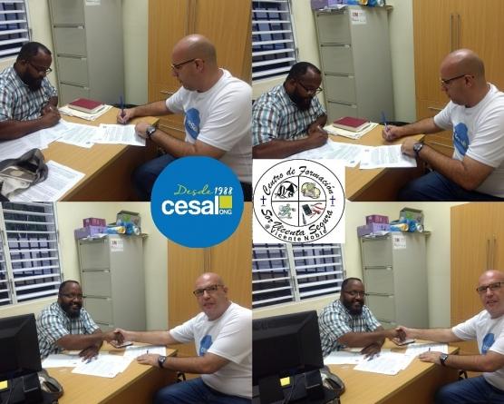 El director de ONG-CESAL en R.D y el centro de formación  Sor Vicenta Segura firman acuerdo de colaboración.